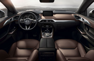 2019 Mazda CX-9 front cabin seats steering wheel and dashboard