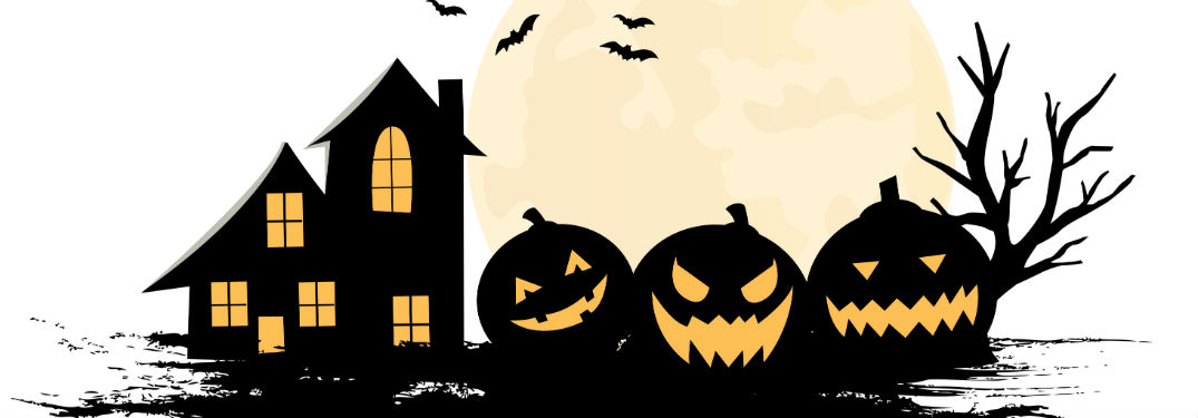 Spooky house and jack-o-lanterns with moon and bats