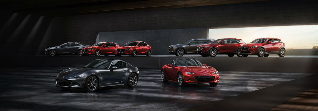 2018 Mazda full lineup with dramatic lighting