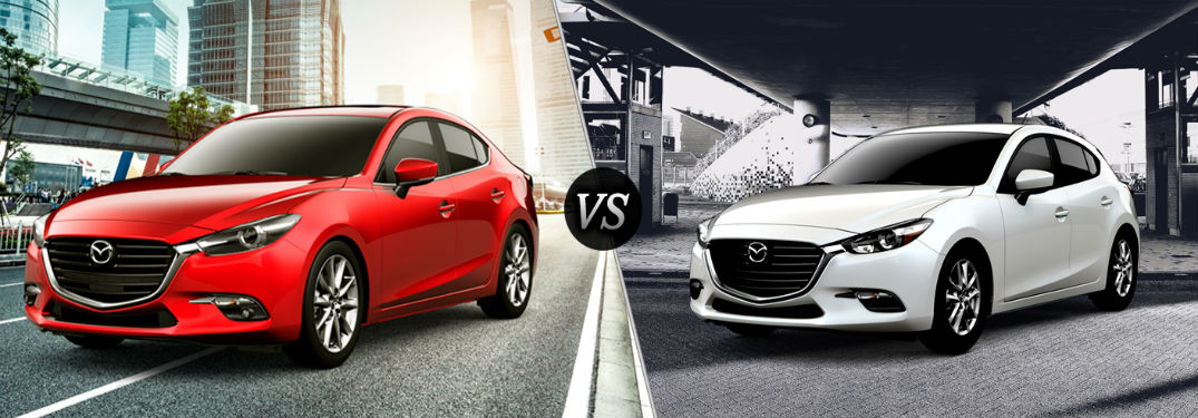 2018 Mazda3 4-door exterior front fascia and drivers side vs 2018 Mazda3 5-door exterior front fascia and drivers side