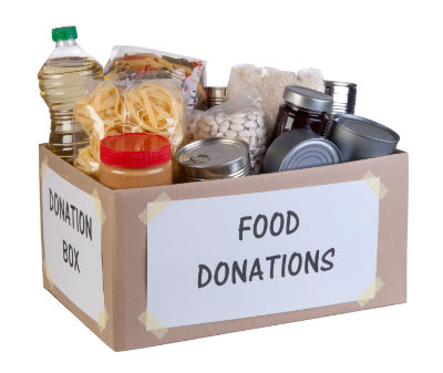 Food donations box with white background