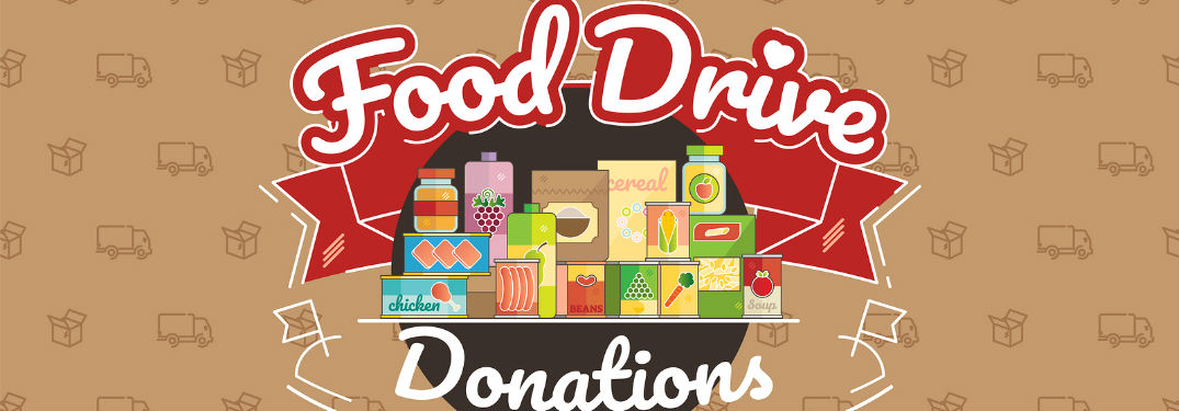 Food drive donations text and a box of food