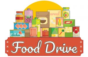 Food drive sign and box of food donations