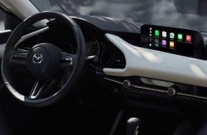 2020 Mazda3 Sedan dashboard and steering wheel