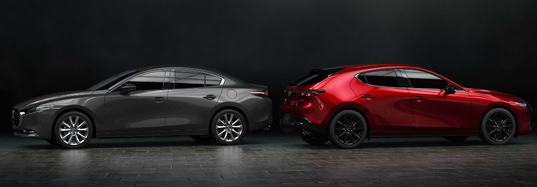 Mazda3 sedan parked next to a Mazda3 hatchback