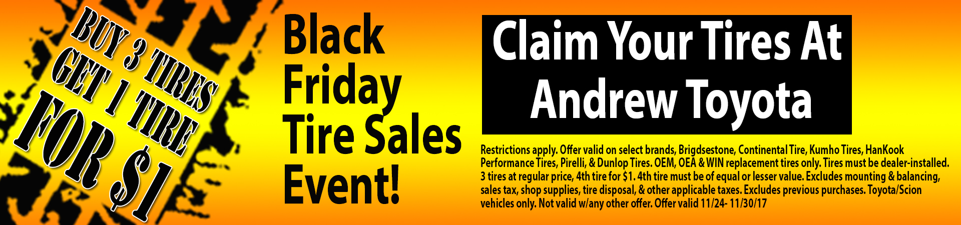 Back by popular demand, the Black Friday Tires Sales Event is here!