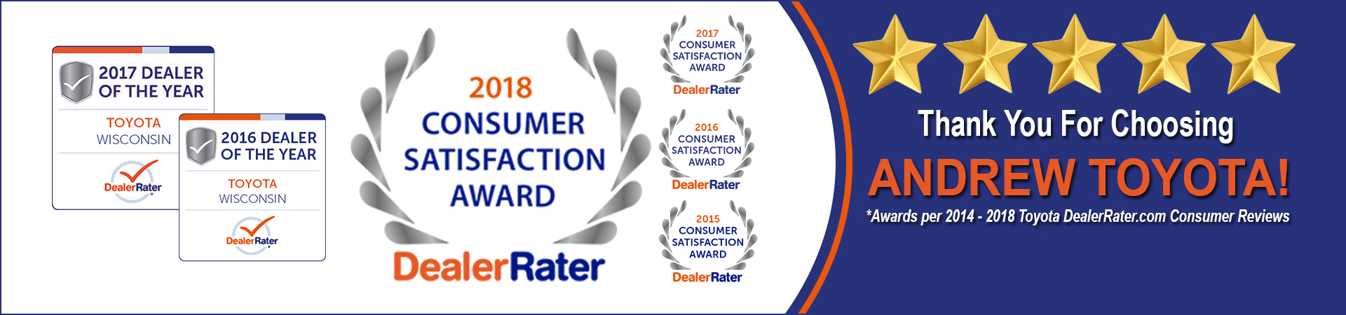 Andrew Toyota has been awarded a 2018 DealerRater Consumer Satisfaction Award, an annual recognition given to auto dealerships that deliver outstanding customer service as rated by online consumer reviews..