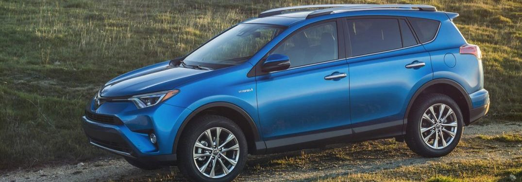 2016 Toyota RAV4 Driving down a hill on a country road
