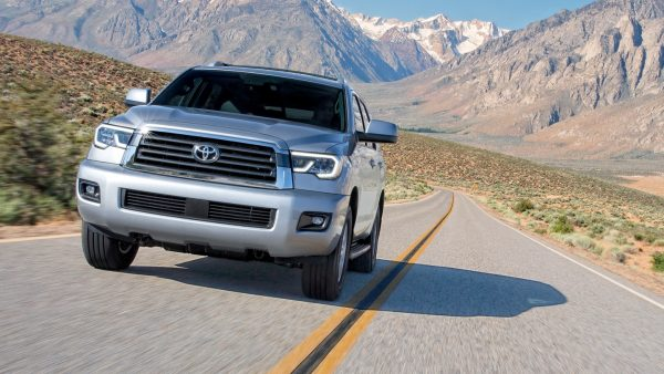 2018 Toyota Sequoia driving on a mountain road