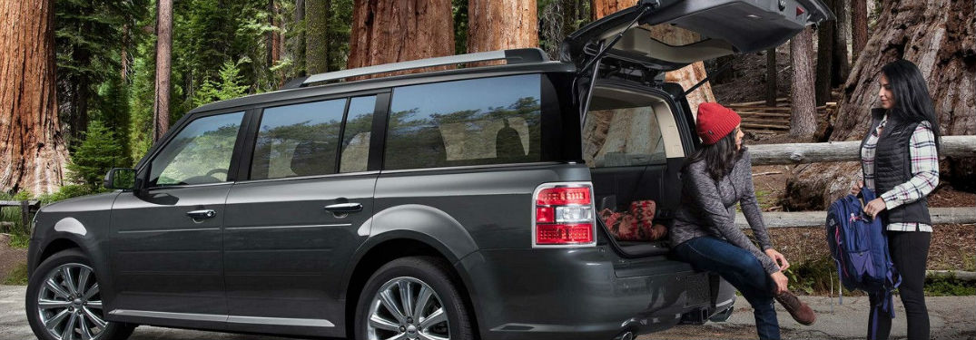 Ford Flex parked with rear liftgate open