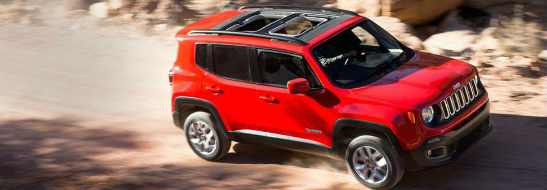 Jeep Renegade driving on an off-road trail