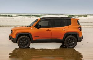 Jeep Renegade parked on a beach