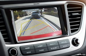 Hyundai Accent rearview camera showing behind the vehicle