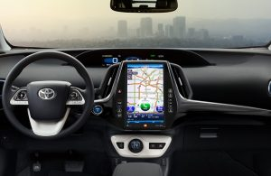Toyota Prius dashboard and steering wheel