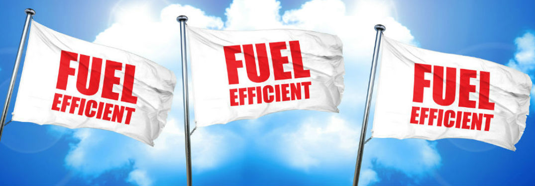Three flags with the words fuel-efficient on them