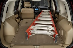 Jeep Patriot Interior with a ladder in the rear cargo area