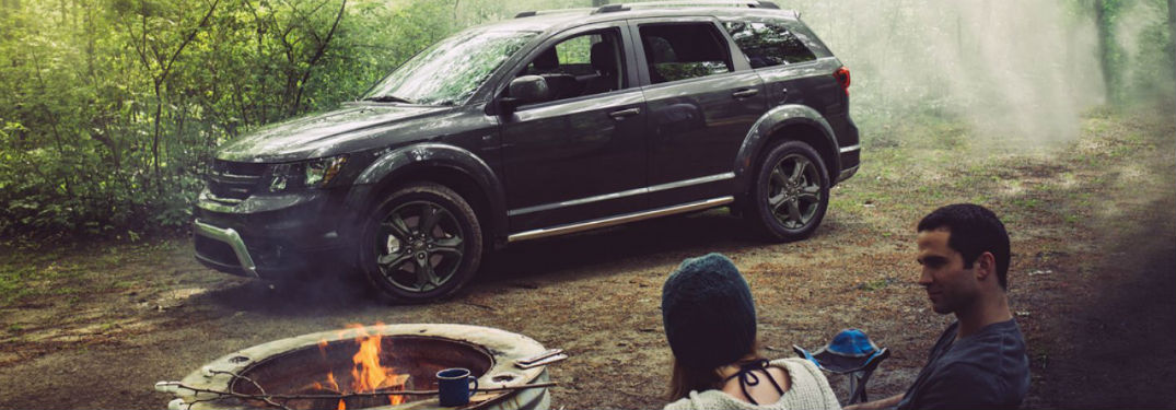 Dodge Journey parked at a campsite