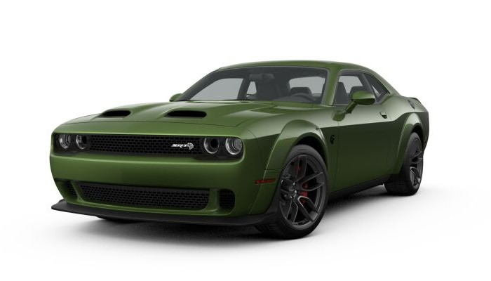 Front driver angle of the 2019 Dodge Challenger in F8 Green color