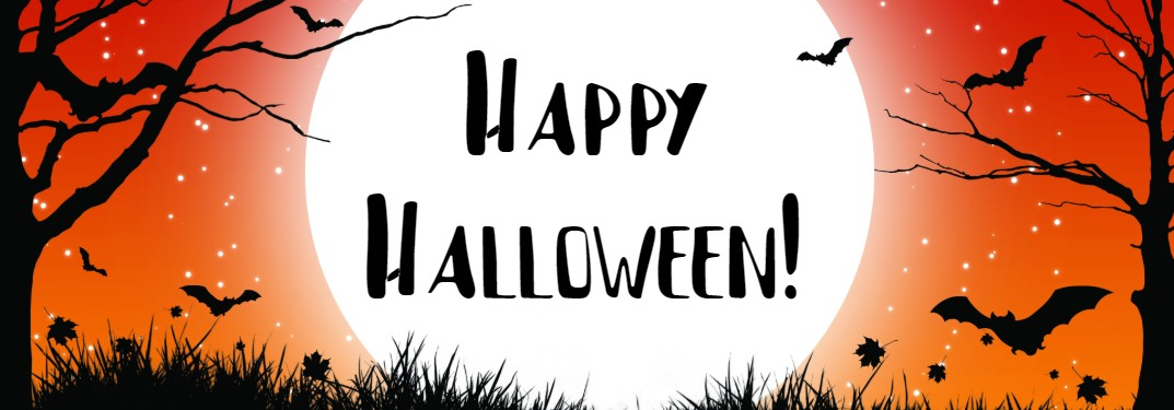 "Orange Halloween graphic with black trees and bats with the text ""Happy Halloween!"""