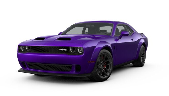 Front driver angle of the 2019 Dodge Challenger in Plum Crazy color