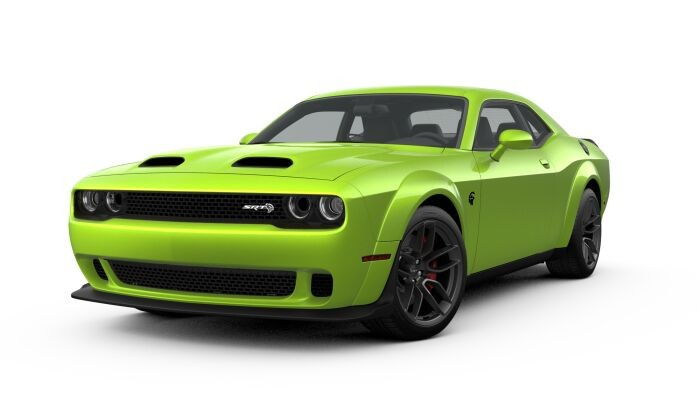 Front driver angle of the 2019 Dodge Challenger in Sublime color