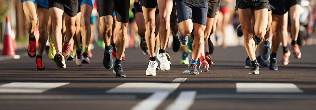 Close up of the feet of runners in a marathon