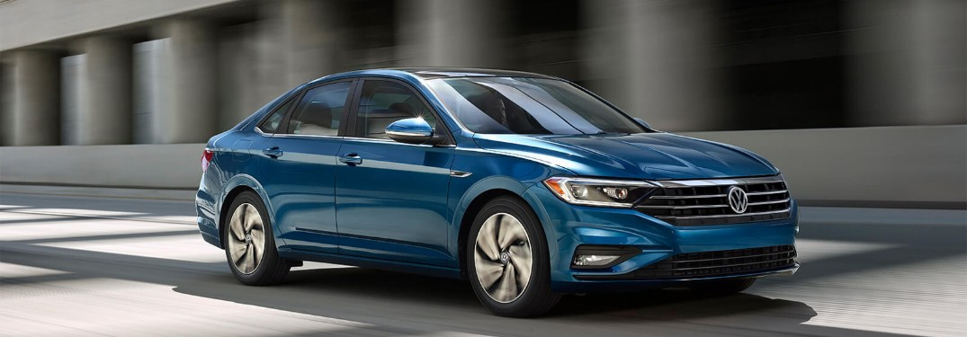 Front driver angle of a blue 2019 Volkswagen Jetta