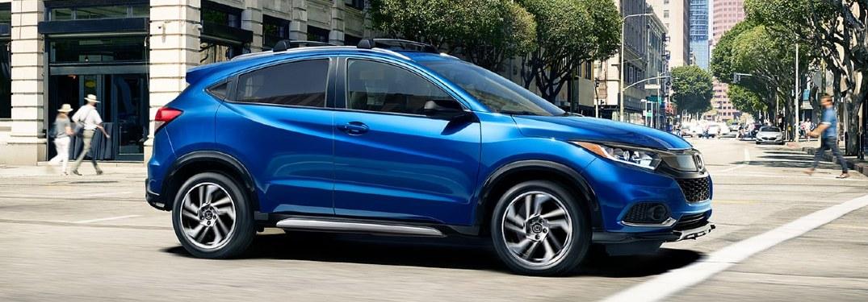 Front passenger angle of a blue 2020 Honda HR-V