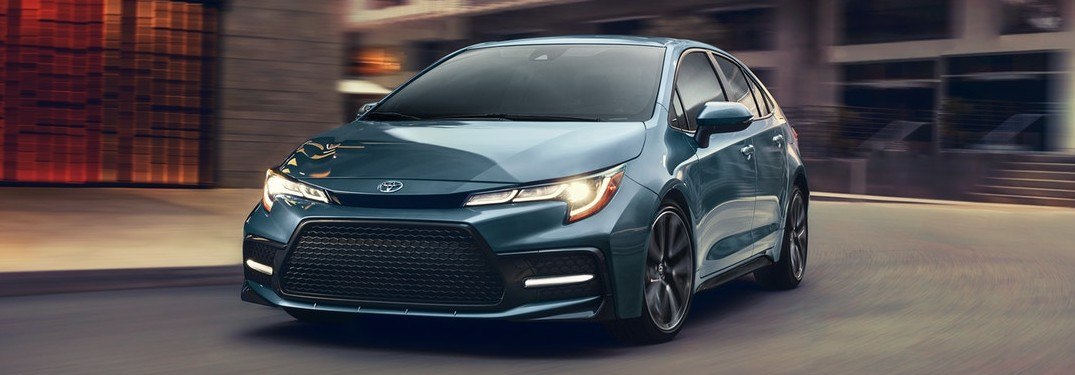 Front driver angle of a blue 2020 Toyota Corolla
