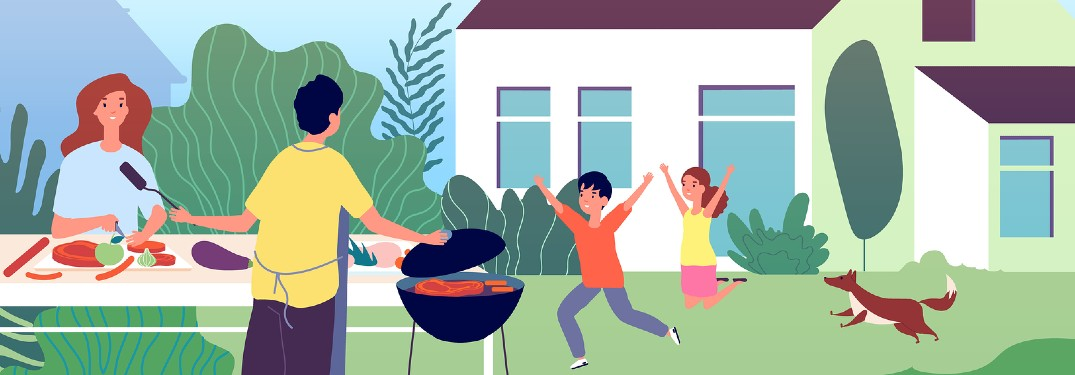 Graphic of a family grilling out in their backyard