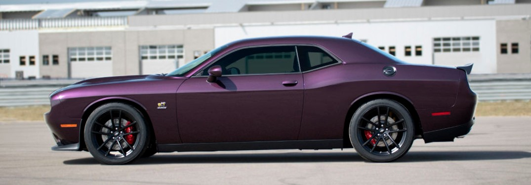 Driver angle of a purple 2020 Dodge Challenger