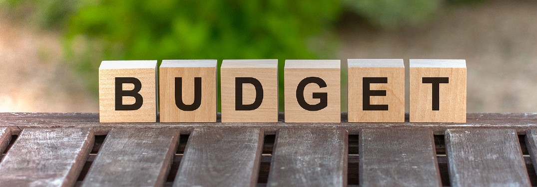 Wood blocks spelling the word 'budget'