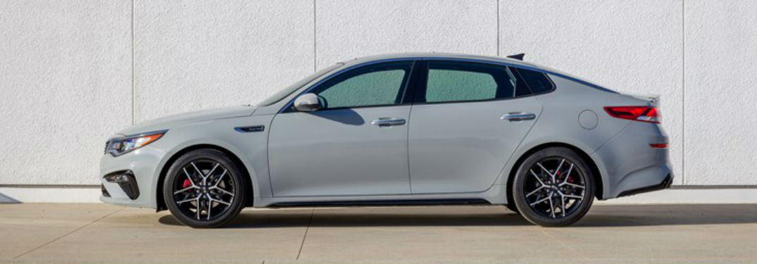 2019 Kia Optima side in gray