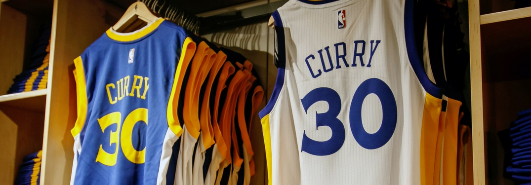 golden state warriors steph curry jerseys hanging