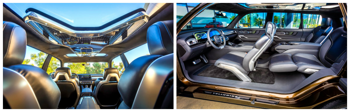 kia telluride concept interior collage infotainment system and seating