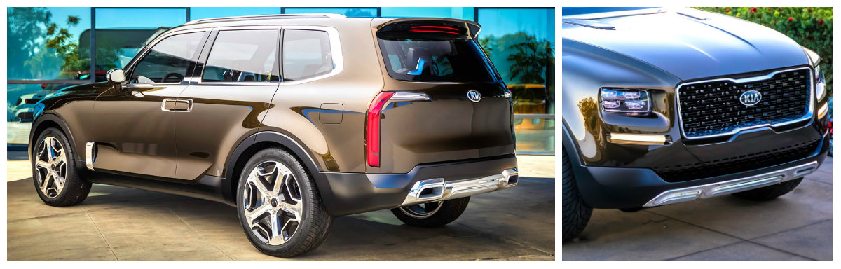 kia telluride concept rear view and close up of grille