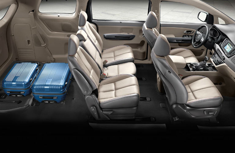 2018 kia sedona two row cargo capacity