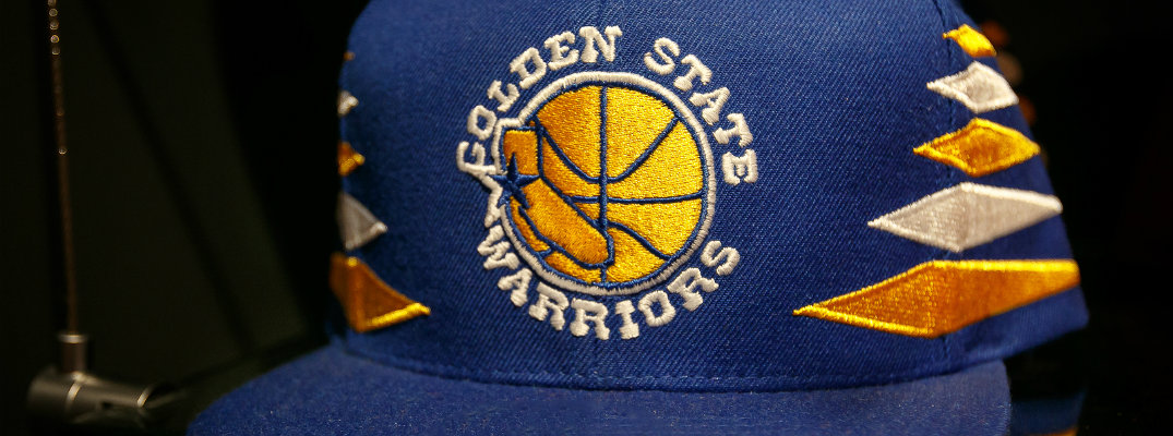 Closeup image of Golden State Warriors snapback hat