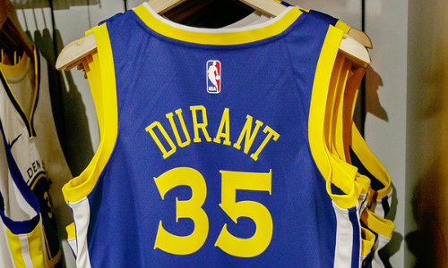 Rear view of Kevin Durant Warriors jersey in NBA store