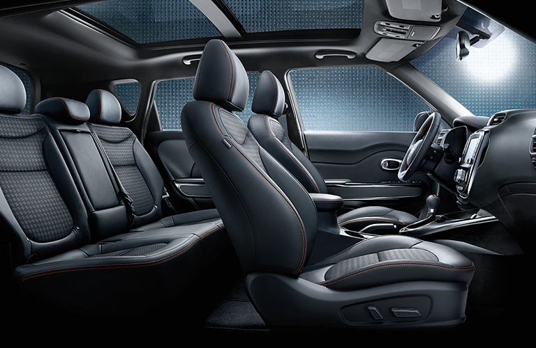 Front two rows of seats inside 2018 Kia Soul