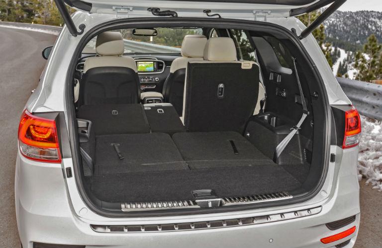 Rear seats folded down inside 2018 Kia Sorento