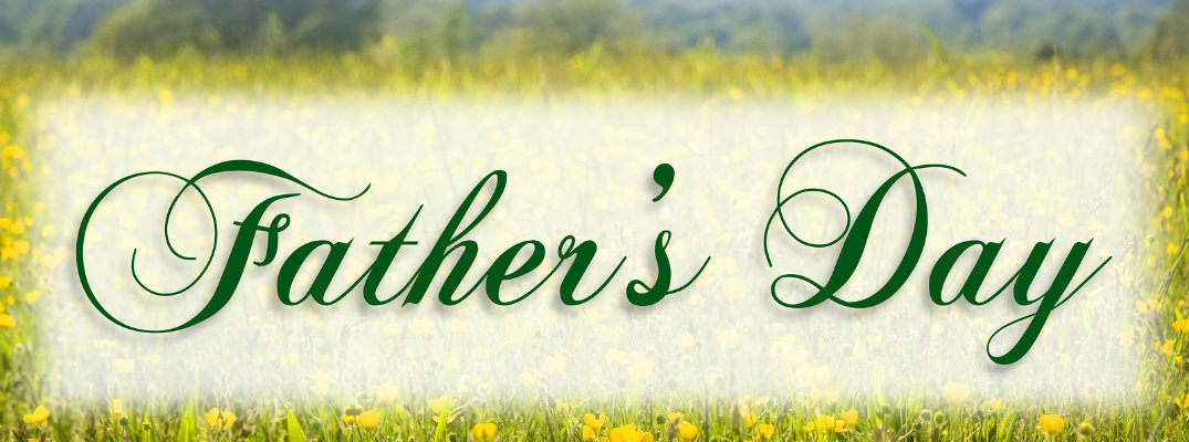 Father's Day written in cursive over green and yellow banner