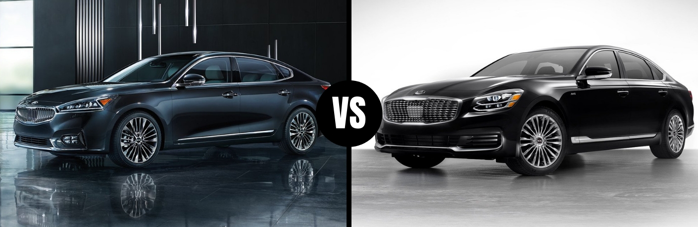 Comparison image of a black 2019 Kia Cadenza and a black 2019 Kia K900
