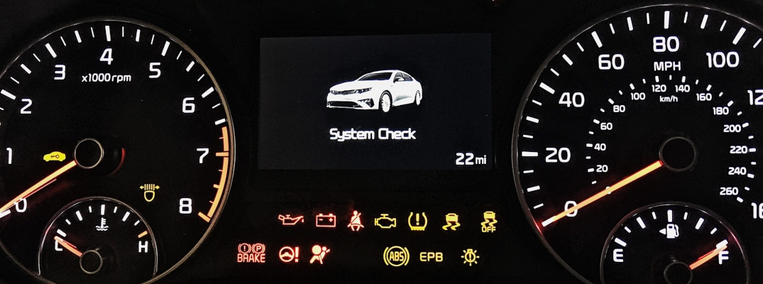 Closeup view of the dashboard of a Kia vehicle