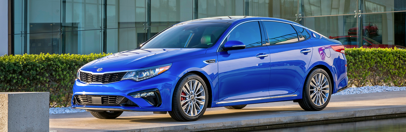 Exterior view of a blue 2019 Kia Optima