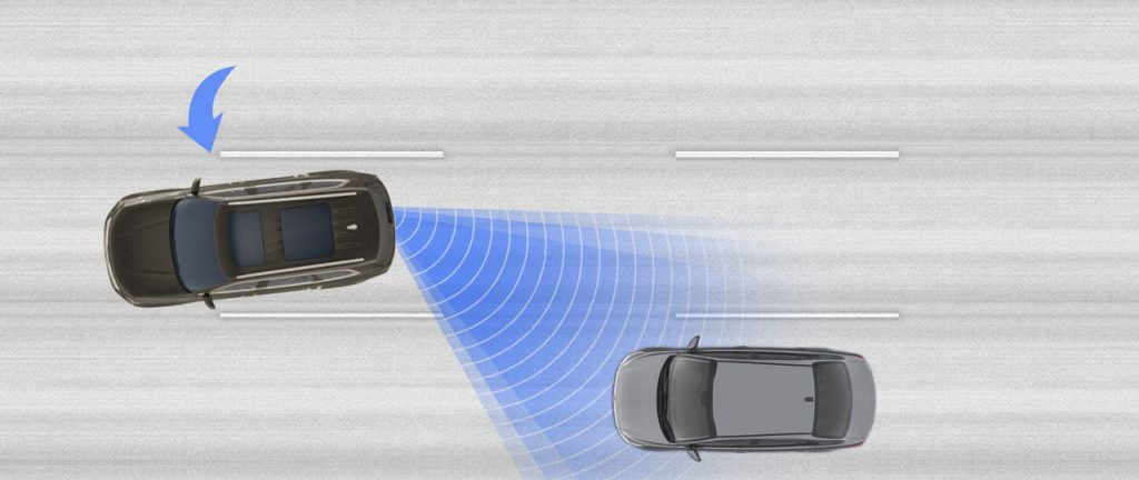 Visual representation of the 2020 Kia Telluride Blind Spot Assistance features