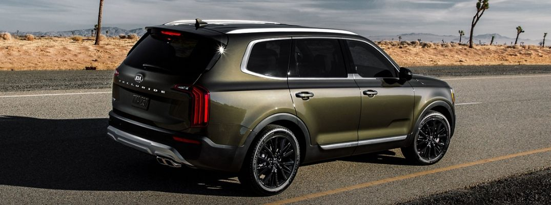 Exterior view of the rear of a green 2020 Kia Telluride