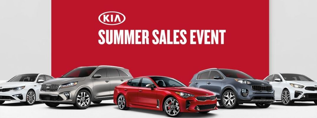 2019 Kia Summer Sales Event Banner showing five Kia models