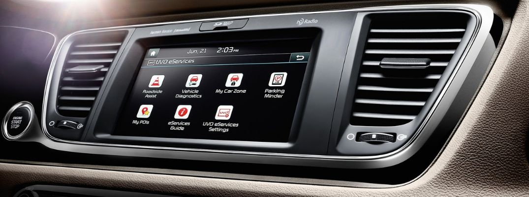 Image of a Kia vehicle's touchscreen display highlighting UVO eServices