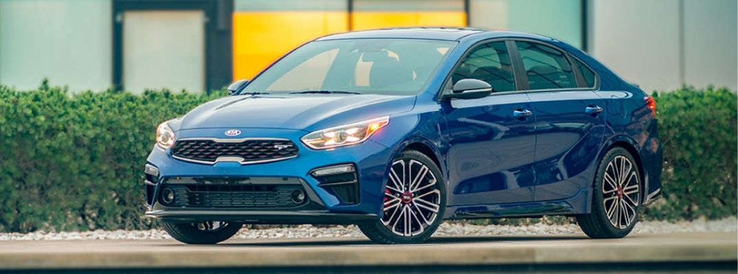 Exterior view of a blue 2020 Kia Forte